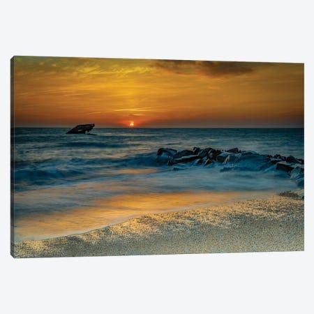 USA, New Jersey, Cape May National Seashore. Sunrise on ocean shore.  Canvas Print #JYG725} by Jaynes Gallery Art Print
