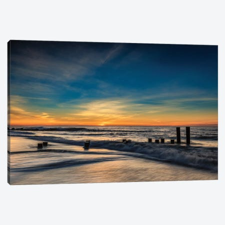 USA, New Jersey, Cape May National Seashore. Sunrise on winter shoreline.  Canvas Print #JYG726} by Jaynes Gallery Art Print