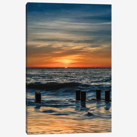 USA, New Jersey, Cape May National Seashore. Sunrise on winter shoreline.  Canvas Print #JYG727} by Jaynes Gallery Art Print