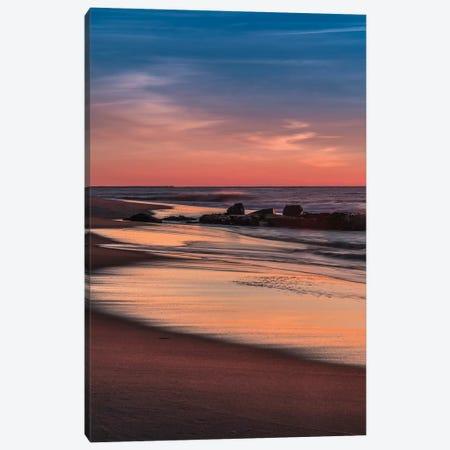 USA, New Jersey, Cape May National Seashore. Sunrise on winter shoreline.  Canvas Print #JYG728} by Jaynes Gallery Canvas Artwork
