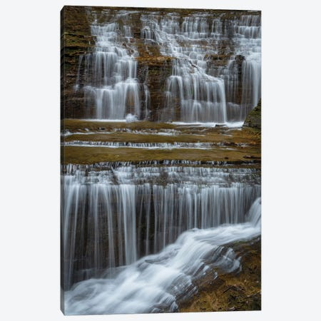 USA, New York, Watkins Glen. Waterfall cascade over rock.  Canvas Print #JYG748} by Jaynes Gallery Canvas Art