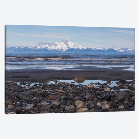 USA, Alaska, Kenai Peninsula. Seascape with Mount Redoubt and beach. 3-Piece Canvas #JYG76} by Jaynes Gallery Canvas Artwork