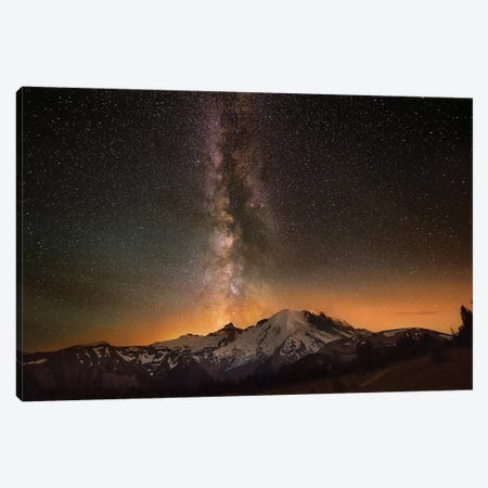 USA, Washington State, Mt. Rainier National Park. Milky Way over Mt. Rainier in summer. Canvas Print #JYG777} by Jaynes Gallery Canvas Artwork