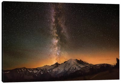 USA, Washington State, Mt. Rainier National Park. Milky Way over Mt. Rainier in summer. Canvas Art Print
