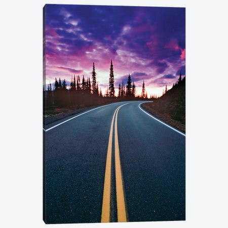 USA, Washington State, Mt. Rainier National Park. Road and clouds at sunset. Canvas Print #JYG778} by Jaynes Gallery Art Print