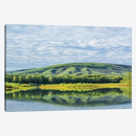 USA, Alaska, Olnes Pond. Landscape with pond reflection. Canvas Print #JYG77} by Jaynes Gallery Canvas Wall Art