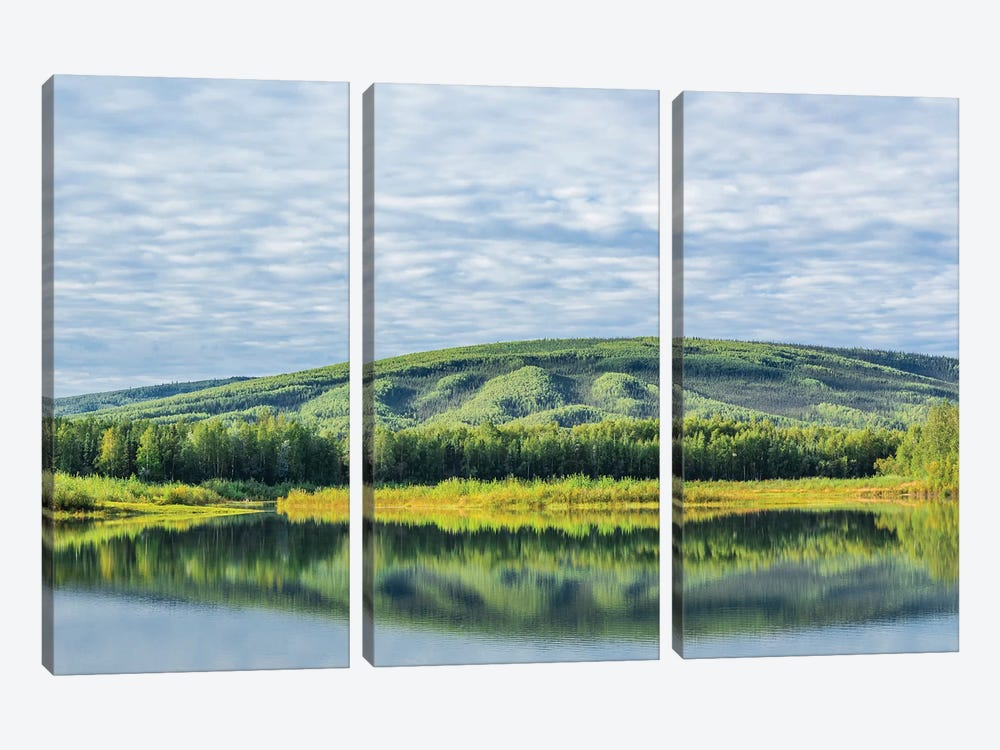 USA, Alaska, Olnes Pond. Landscape with pond reflection. by Jaynes Gallery 3-piece Canvas Print