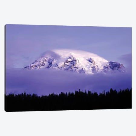 USA, Washington, Mt. Rainier National Park. Clouds on Mt Rainier and forest silhouette. Canvas Print #JYG787} by Jaynes Gallery Canvas Print