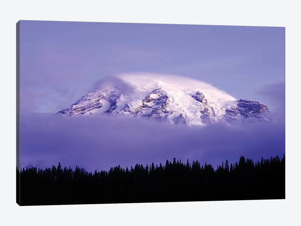 USA, Washington, Mt. Rainier National Park. Clouds on Mt Rainier and forest silhouette. by Jaynes Gallery 1-piece Canvas Wall Art