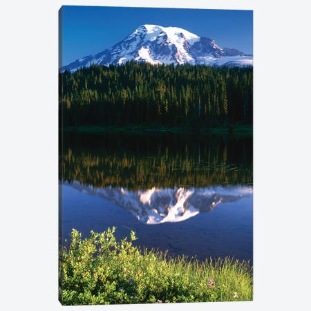 USA, Washington, Mt. Rainier National Park. Clouds on Mt Rainier and Reflection Lake. Canvas Print #JYG788} by Jaynes Gallery Canvas Wall Art