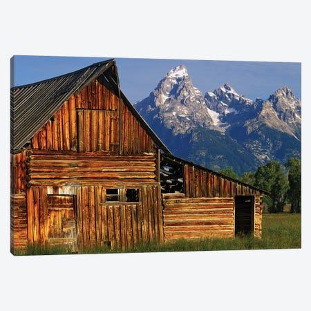 USA, Wyoming, Grand Teton National Park. Barn along Mormon Row and Grand Teton Mountains. Canvas Print #JYG797} by Jaynes Gallery Canvas Art