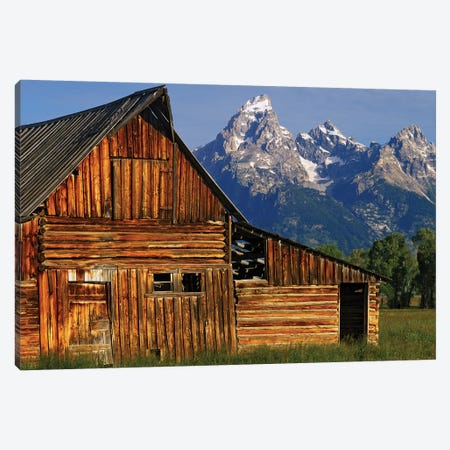 USA, Wyoming, Grand Teton National Park. Barn along Mormon Row and Grand Teton Mountains. Canvas Print #JYG797} by Jaynes Gallery Canvas Art