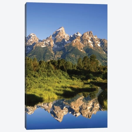 USA, Wyoming, Grand Teton National Park. Grand Tetons reflect in Snake River. Canvas Print #JYG800} by Jaynes Gallery Canvas Art Print
