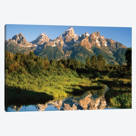 USA, Wyoming, Grand Teton National Park. Grand Tetons reflect in Snake River. Canvas Print #JYG801} by Jaynes Gallery Canvas Print