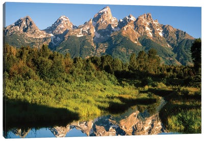 USA, Wyoming, Grand Teton National Park. Grand Tetons reflect in Snake River. Canvas Art Print