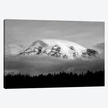 Washington, Mt. Rainier NP. Black and white of clouds on Mt Rainier and forest silhouette. Canvas Print #JYG805} by Jaynes Gallery Canvas Wall Art