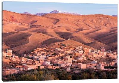 Africa, Morocco, Boumalne Dades. Town Amid Barren Landscape. Canvas Art Print