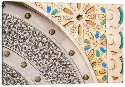 Africa, Morocco, Casablanca. Close-Up Of Designs On Mosque Exterior. Canvas Art Print