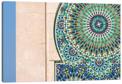 Africa, Morocco, Casablanca. Close-Up Of Tile Designs On Mosque Exterior. Canvas Art Print