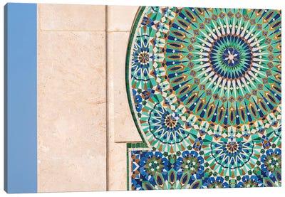 Africa, Morocco, Casablanca. Close-Up Of Tile Designs On Mosque Exterior. Canvas Art Print