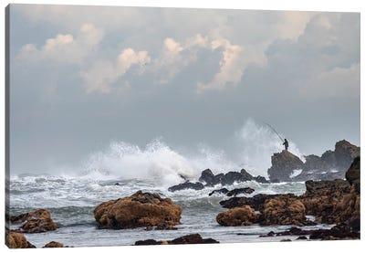 Africa, Morocco, Casablanca. Man Fishing Amid Ocean Waves. Canvas Art Print