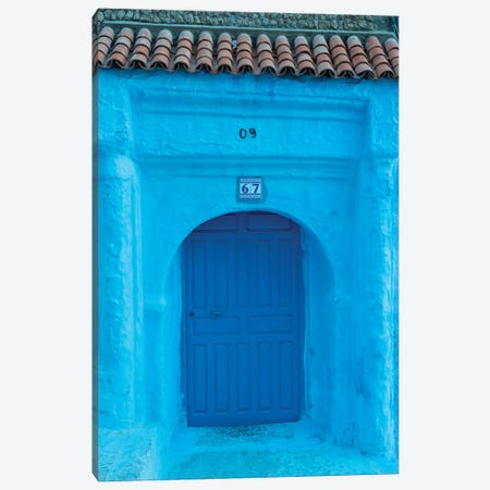 Africa, Morocco, Chefchaouen. Arch Over Wooden Door. 3-Piece Canvas #JYG813} by Jaynes Gallery Canvas Wall Art