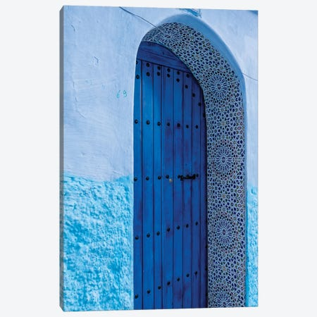 Africa, Morocco, Chefchaouen. Arch Over Wooden Door. 3-Piece Canvas #JYG814} by Jaynes Gallery Canvas Art Print