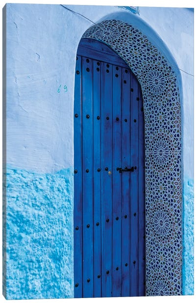 Africa, Morocco, Chefchaouen. Arch Over Wooden Door. Canvas Art Print