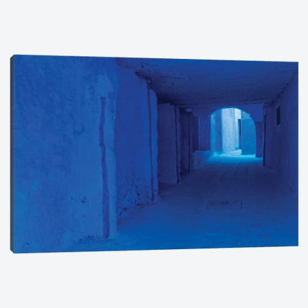 Africa, Morocco, Chefchaouen. Blue-Painted Alley. 3-Piece Canvas #JYG815} by Jaynes Gallery Canvas Print