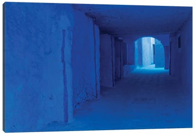 Africa, Morocco, Chefchaouen. Blue-Painted Alley. Canvas Art Print
