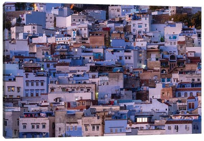 Africa, Morocco, Chefchaouen. Overview Of Town At Twilight. Canvas Art Print