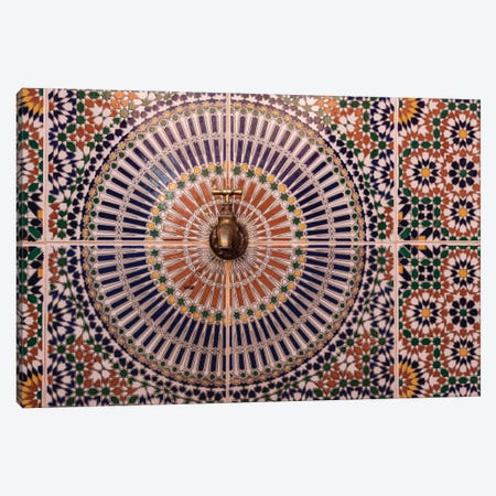 Africa, Morocco. Close-Up Of Tile Design Patterns Around Faucet. 3-Piece Canvas #JYG819} by Jaynes Gallery Canvas Art