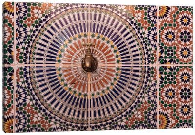 Africa, Morocco. Close-Up Of Tile Design Patterns Around Faucet. Canvas Art Print
