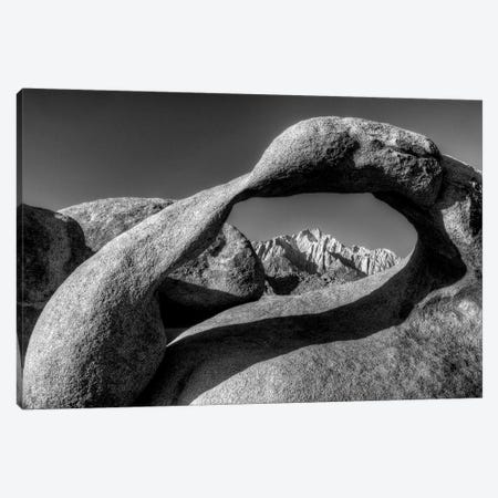 USA, California, Alabama Hills. Black and white of Mobius Arch at sunrise. Canvas Print #JYG82} by Jaynes Gallery Canvas Artwork