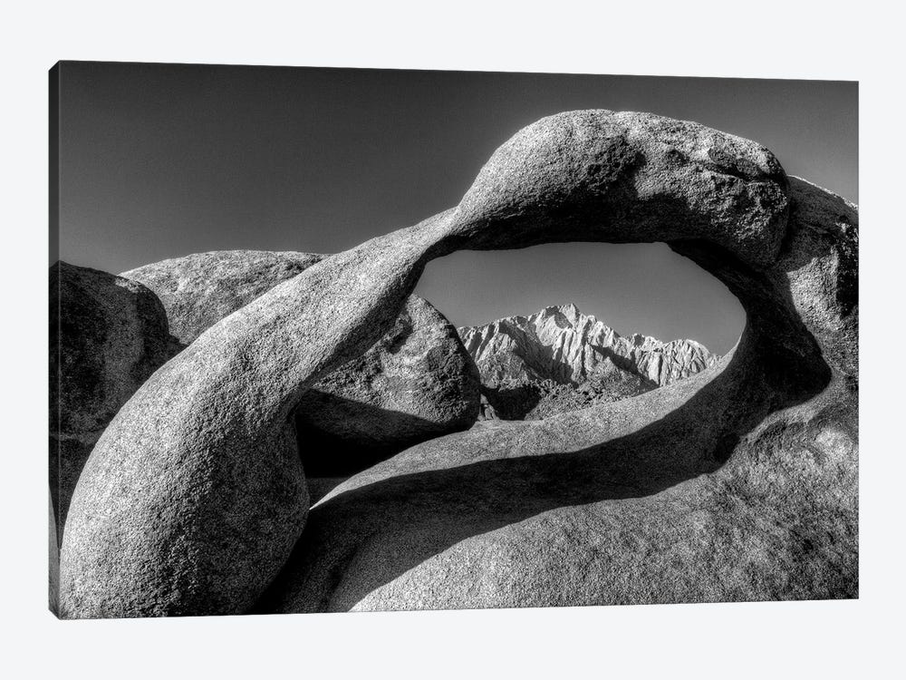 USA, California, Alabama Hills. Black and white of Mobius Arch at sunrise. by Jaynes Gallery 1-piece Canvas Print