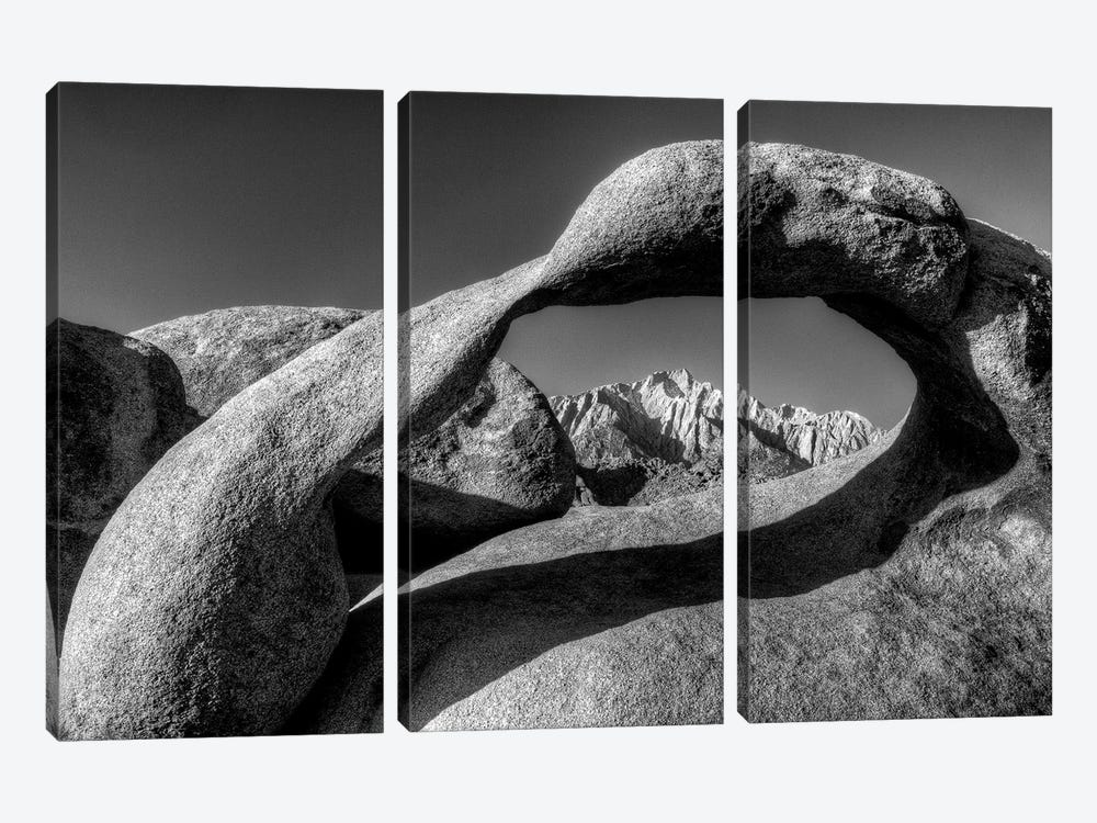 USA, California, Alabama Hills. Black and white of Mobius Arch at sunrise. by Jaynes Gallery 3-piece Canvas Art Print