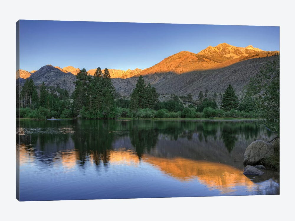 USA, California, Bishop. Sunrise on mountain lake. by Jaynes Gallery 1-piece Canvas Print