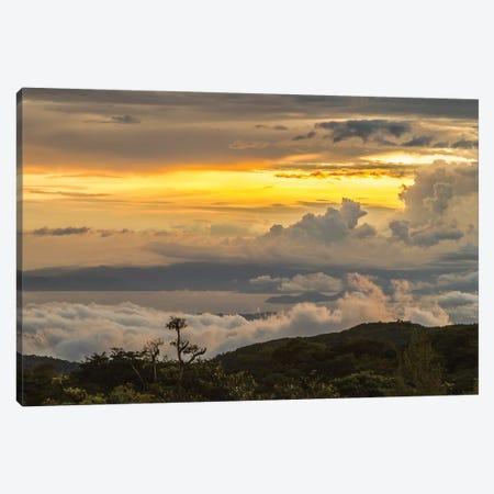 Costa Rica, Monte Verde Cloud Forest Reserve. Sunset Landscape. 3-Piece Canvas #JYG860} by Jaynes Gallery Art Print