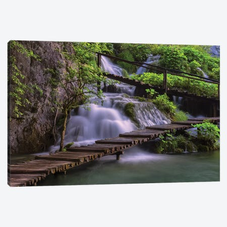 Croatia, Plitvice Lakes National Park. Scenic Of Waterfall And Wooden Walkway. Canvas Print #JYG891} by Jaynes Gallery Canvas Art