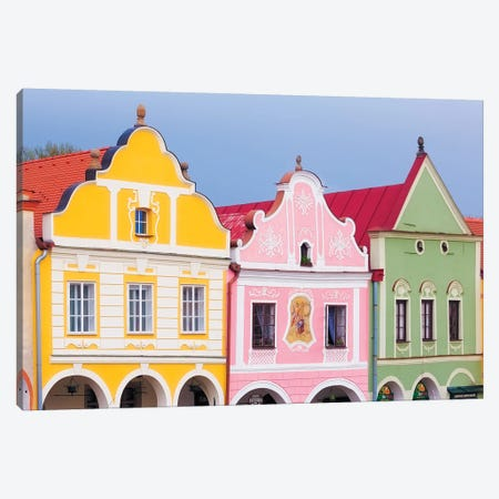 Czech Republic, Telc. Colorful Houses On Main Square. Canvas Print #JYG899} by Jaynes Gallery Canvas Artwork