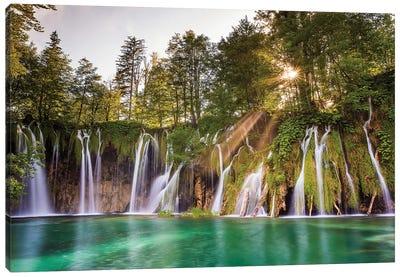 Europe, Croatia, Plitvice Lakes National Park. Waterfall Landscape. Canvas Art Print