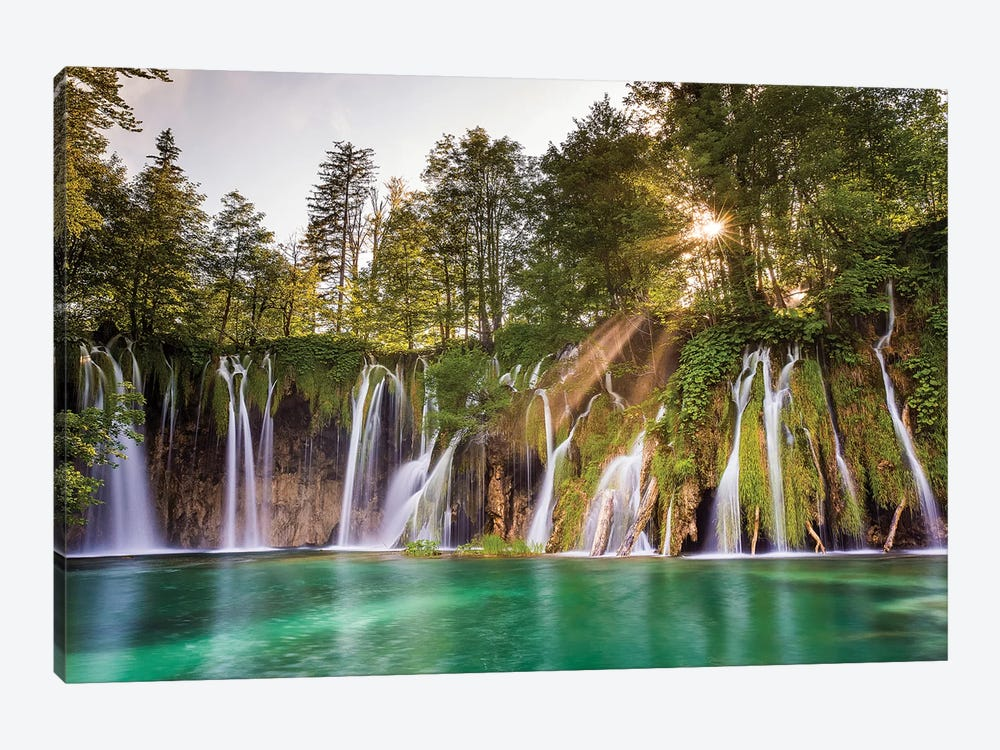 Europe, Croatia, Plitvice Lakes National Park. Waterfall Landscape. by Jaynes Gallery 1-piece Canvas Art Print