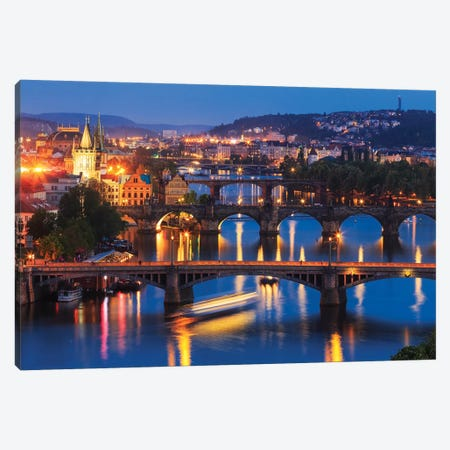 Europe, Czech Republic, Prague. Sunset On City And River Bridges. Canvas Print #JYG905} by Jaynes Gallery Canvas Print