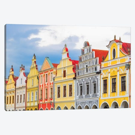 Europe, Czech Republic, Telc. Colorful Houses On Main Square. Canvas Print #JYG908} by Jaynes Gallery Canvas Artwork