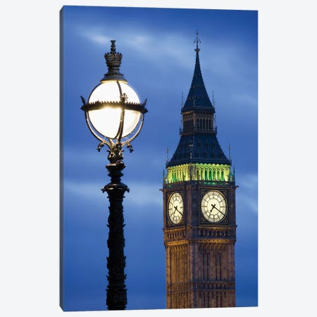 Europe, Great Britain, London, Big Ben. Clock Tower Lamp Post. Canvas Print #JYG915} by Jaynes Gallery Canvas Art