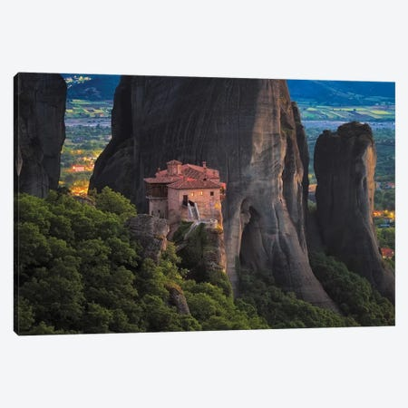 Europe, Greece, Meteora. Isolated Monastery On Cliff. Canvas Print #JYG916} by Jaynes Gallery Canvas Wall Art