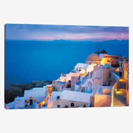 Europe, Greece, Santorini, Oia. Sunset On Coastal Town. Canvas Print #JYG918} by Jaynes Gallery Art Print