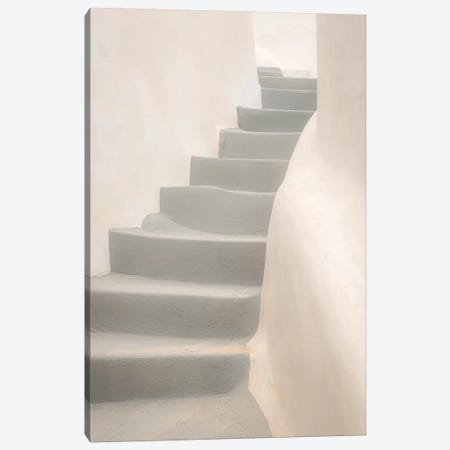 Europe, Greece, Santorini, Thira. White Stairway And Walls. Canvas Print #JYG920} by Jaynes Gallery Canvas Artwork