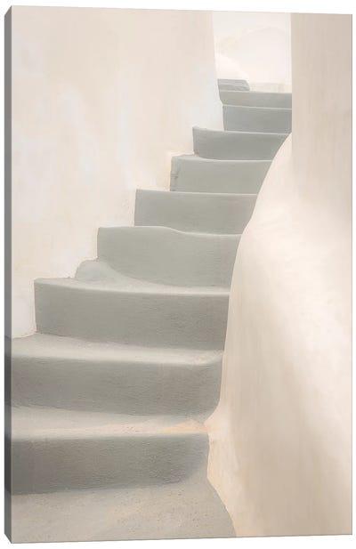 Europe, Greece, Santorini, Thira. White Stairway And Walls. Canvas Art Print