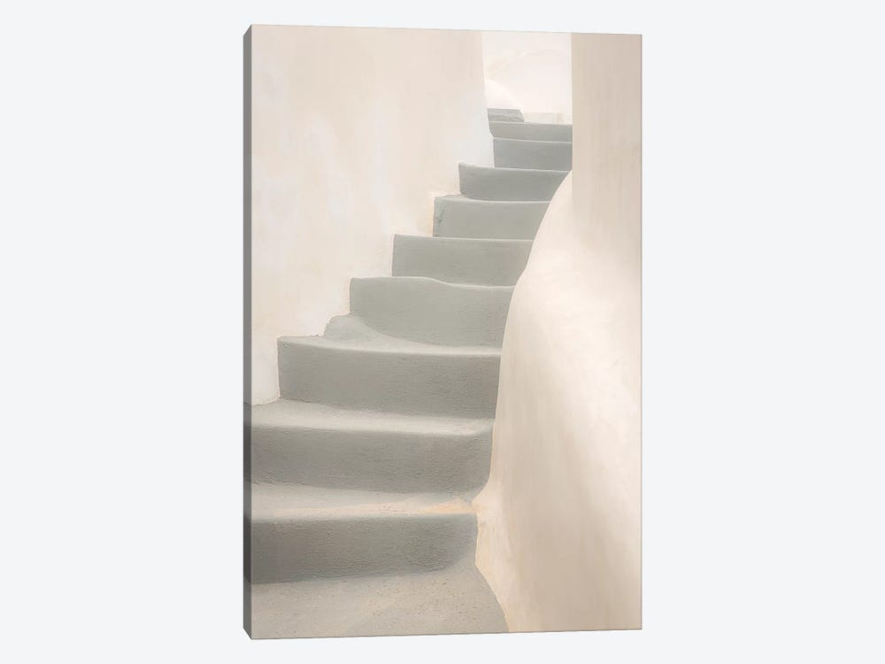 Europe, Greece, Santorini, Thira. White Stairway And Walls. by Jaynes Gallery 1-piece Canvas Wall Art